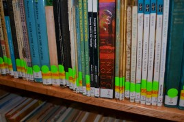 My books on the shelves of the Antigua and Barbuda Public Library