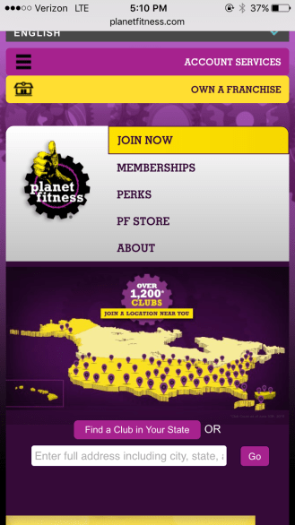The mobile view of the Planet Fitness website.