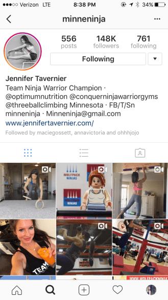 Screenshot of Jennifer's Instagram account.