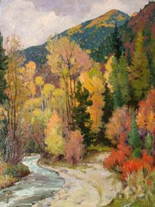 Joseph Henry Sharp, Aspens, Near Hondo Canyon, Near Taos, Oil on Canvas, 16″ x 20″