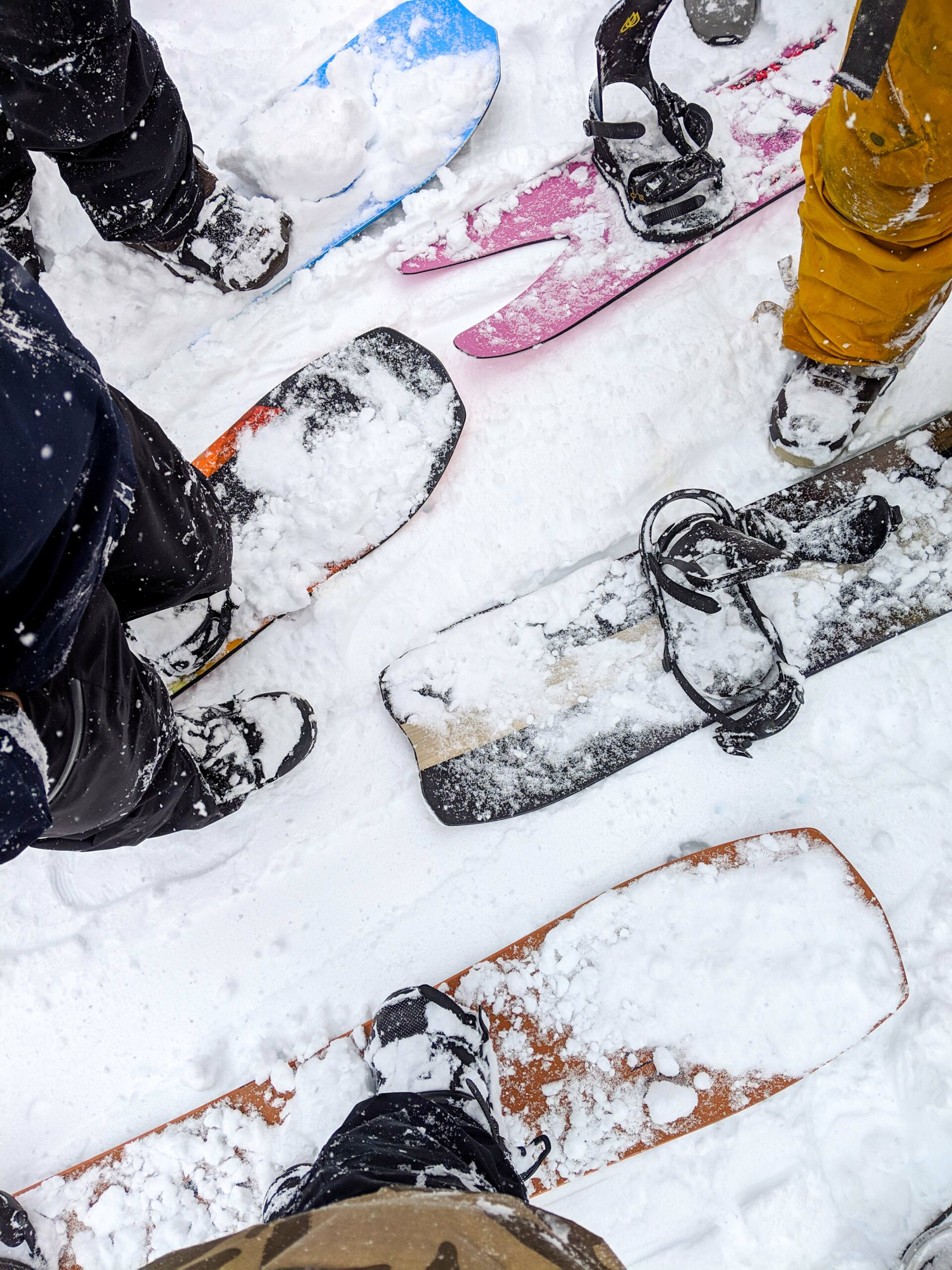 A bunch of snowboards at Jackson Hole Mountain Resort during the 2019 Shaper Summit.