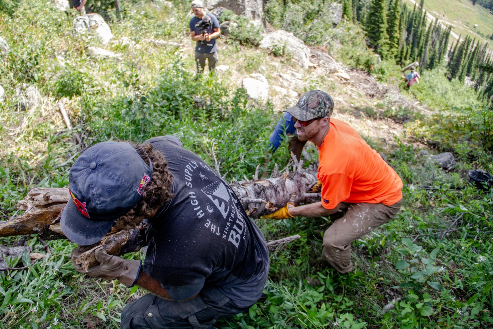 Ben Ferguson and Sage Kotsenburg haulin' logs. Photo: Ryan Dee