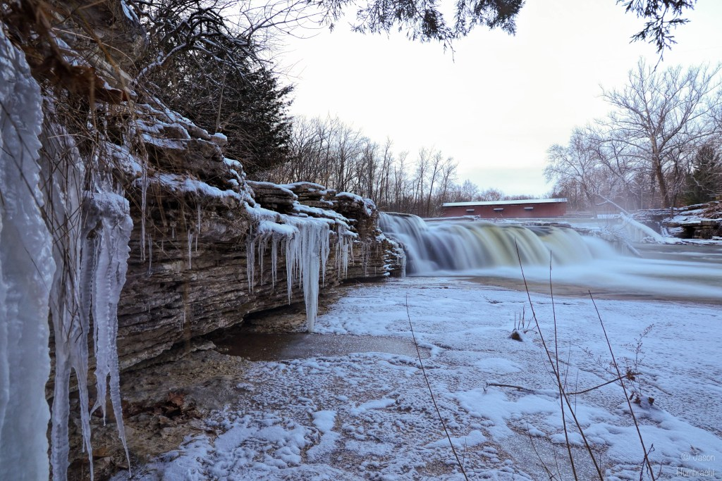Winter at Cataract Falls | Indiana Waterfalls | Sunrise Cataract Falls | Spencer, Indiana | Image By Indiana Architectural Photographer Jason Humbracht