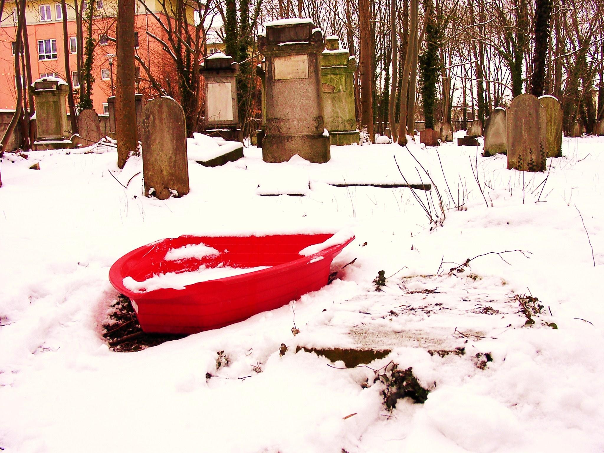 red glaring graveyard boat