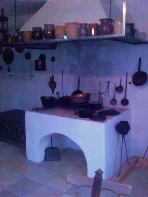 fireplace with utensils