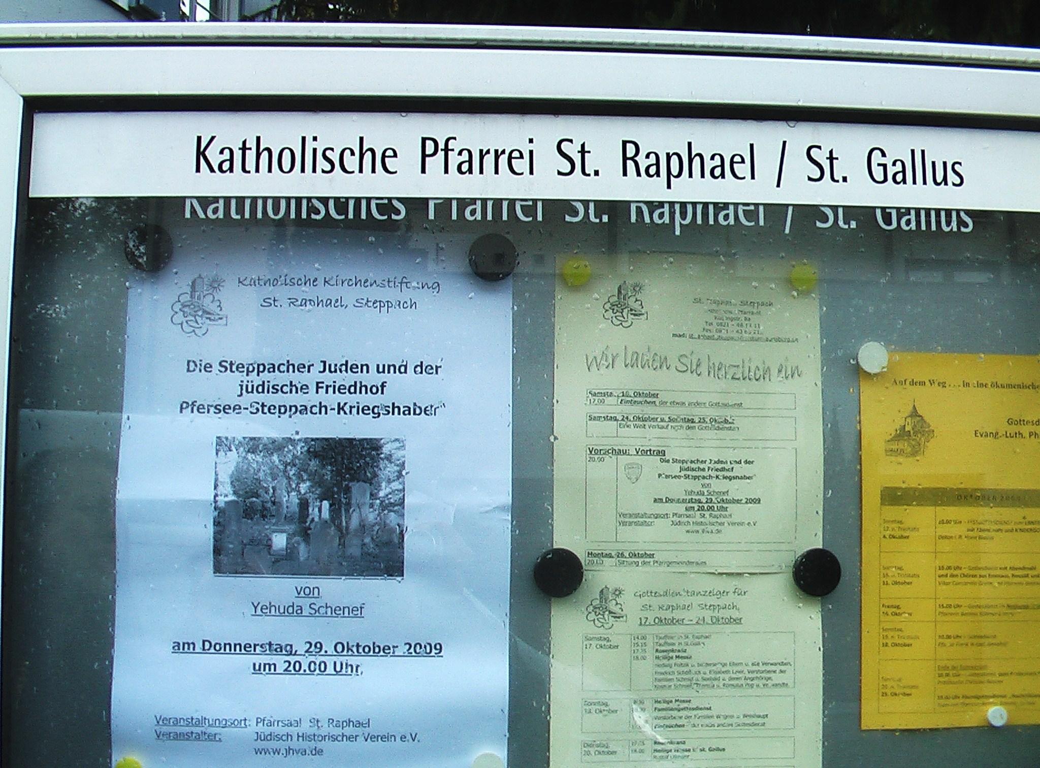 Veranstaltungshinweis St. Raphael Steppach