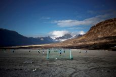 People play soccer in Narsaq, Greenland, in May 2013. Espen Rasmussen/Panos