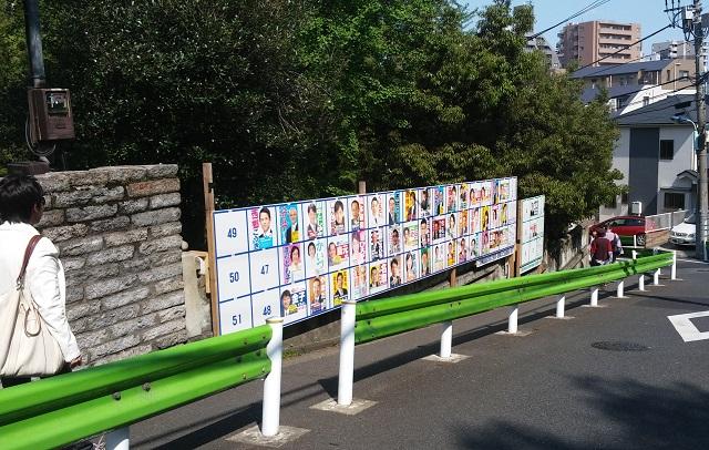 候補者のポスター掲示板