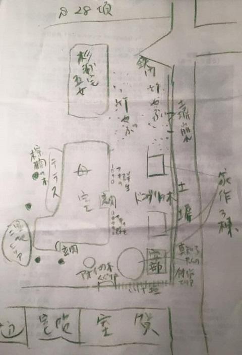 安部公房旧宅手書きの地図