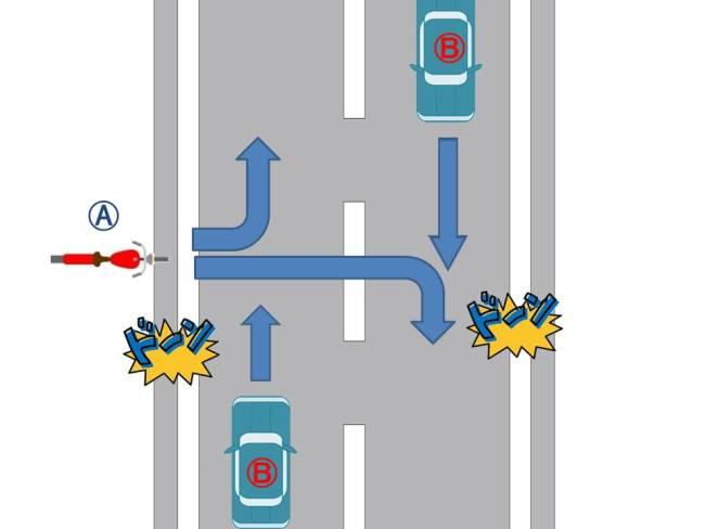 直進四輪車と道路外から進入するバイクの事故
