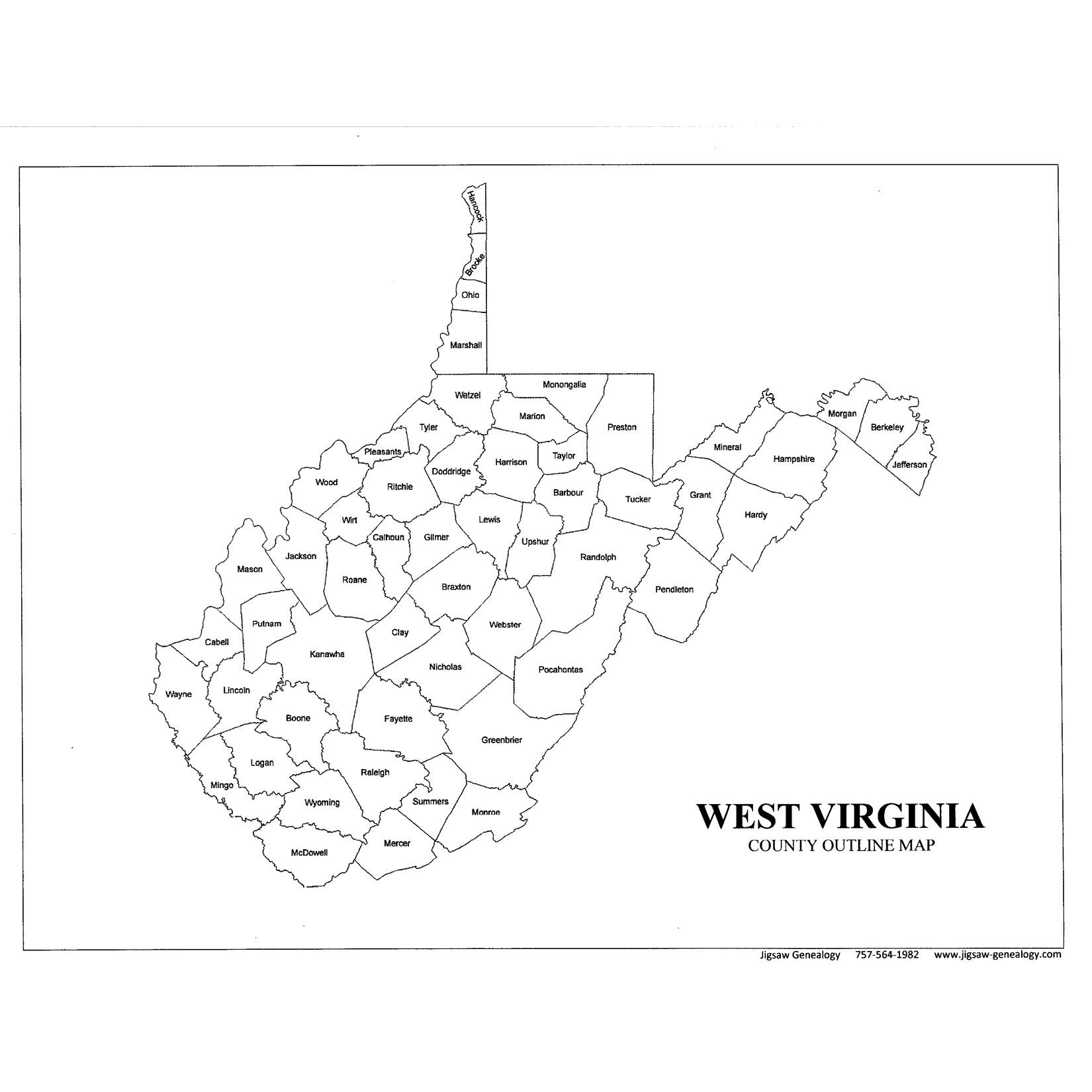 West Virginia County Map Jigsaw Genealogy