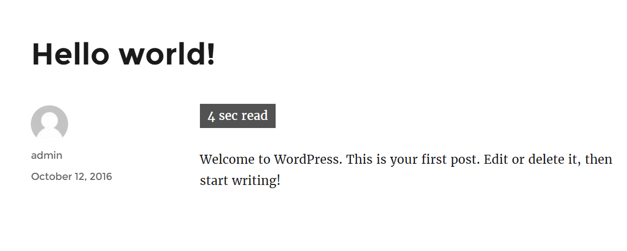 Wordpress read time plugin