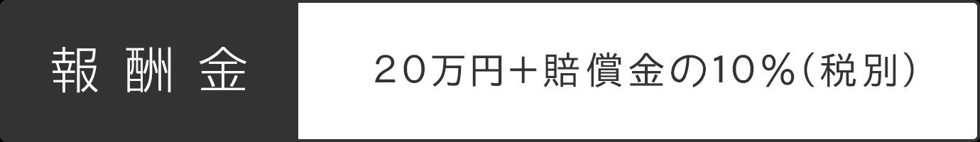 報奨金 20万円 + 賠償金の10%