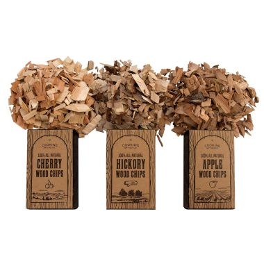 A picture of hickory wood chips used in barbecue grilling