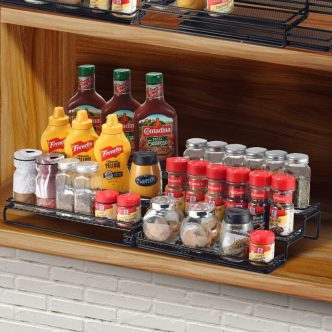 3 tier step with protection railing cabinet spice rack organizer