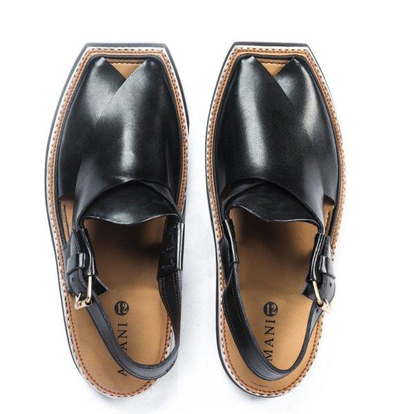 Maqdur-Pitch-Black-Mens-Handmade-Leather-Peshawari-Chappal-Pakistan-UK