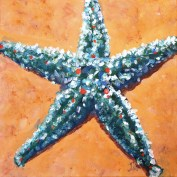 "Blue-green star, Acrylic on canvas 10 x 10"""
