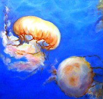 "Floating Jellies, Oil on Canvas, 20 x 20"", 2016"