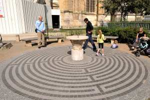 Modern labyrinth outside of Orléans Cathedral, France by photographer Jill K H Geoffrion