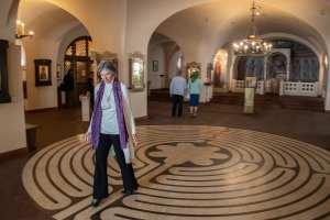 Jill praying labyrinth in St. Petersburg
