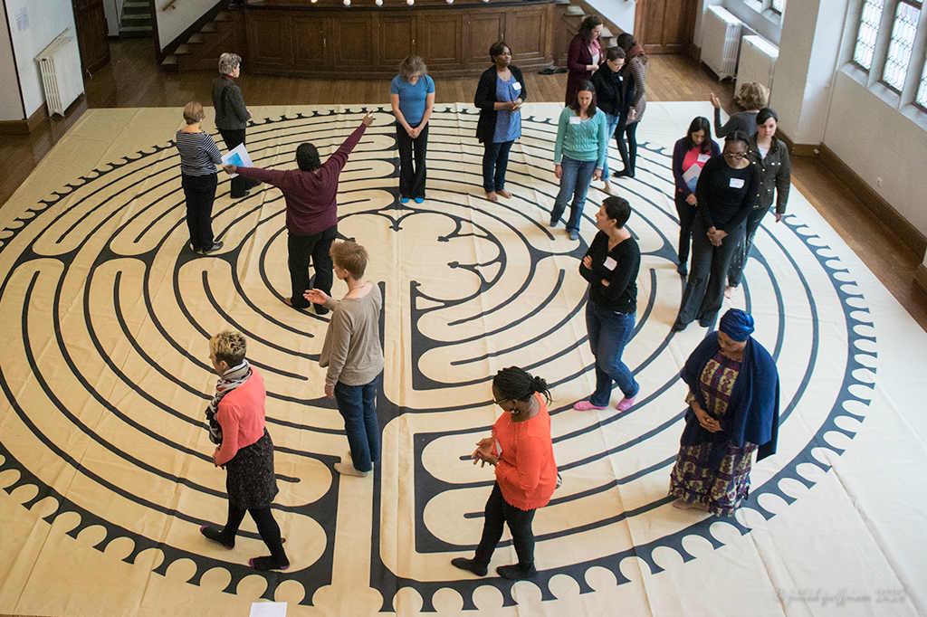 American Church of Paris Labyrinth Walk Women by photographer Jill K H Geoffrion