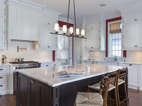 Painted kitchen with dark stained island