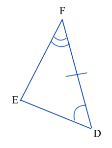 Triangle DEF. Angle D is marked congruent to angle A in triangle ABC, angle F is marked congruent to angle C, and side DF is marked congruent to side AC. Triangle ABC is shown in a different picture.