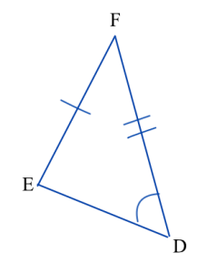 Triangle DEF. Angle D is marked congruent to angle A in triangle ABC, side EF is marked congruent to side BC, and side DF is marked congruent to side AC. Triangle DEF is shown in a different picture.