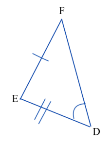 Triangle DEF. Angle D is marked congruent to angle A in triangle ABC, side EF is marked congruent to side BC, and side DE is marked congruent to side AB. Triangle ABC is shown in a different picture.
