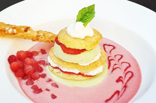 Strawberry Shortcake with Basil Panna Cotta Layers #dessert #recipe #strawberryshortcake