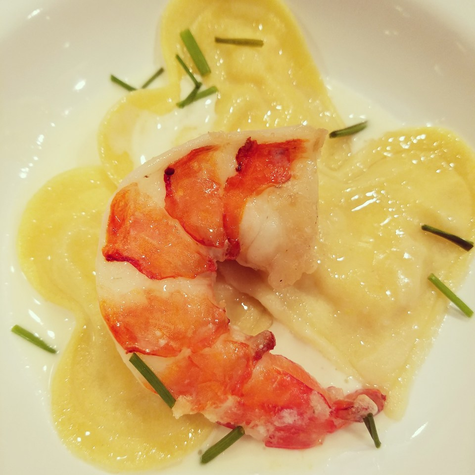 Shrimp Ravioli with Jumbo Prawn and Lemon Sauce