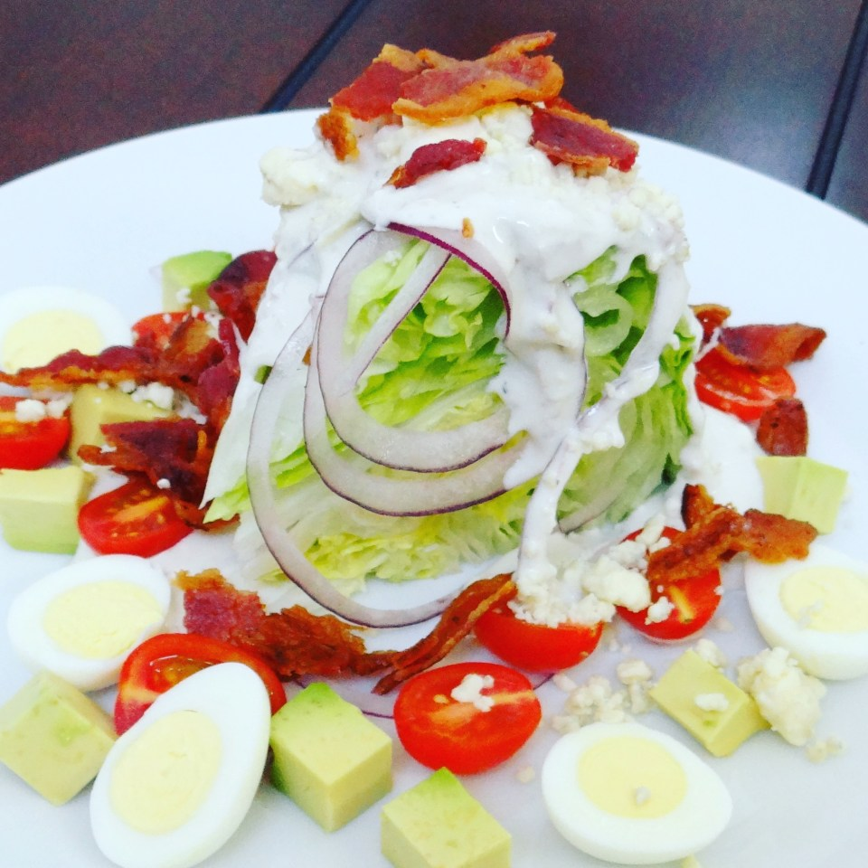 Cobb Wedge Salad with Quail Eggs & Homemade Blue Cheese Dressing