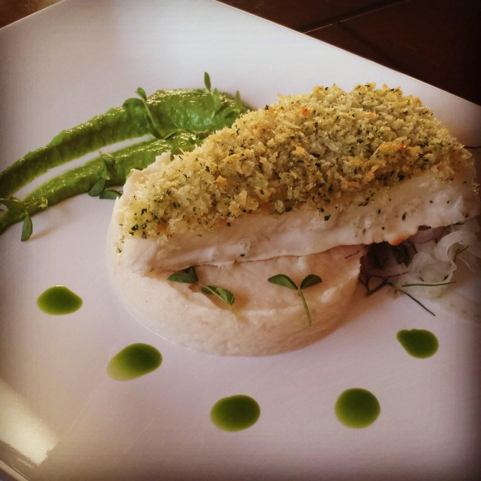 Panko Crusted Chilean Sea Bass with Cauliflower Mash, Pea Puree, and Chive Oil