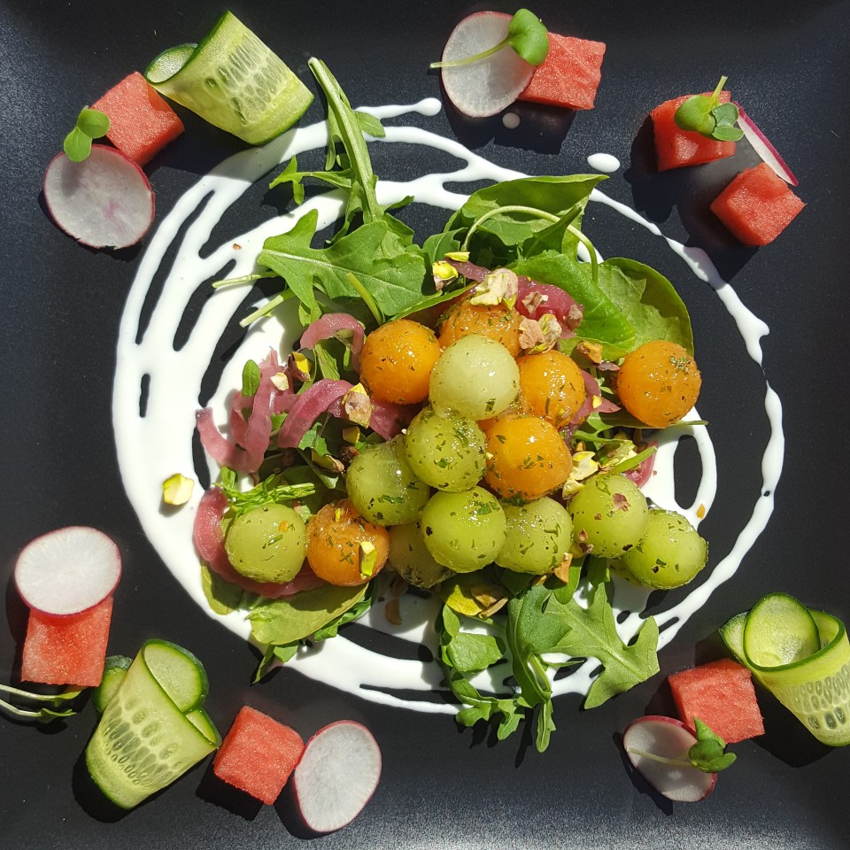 Melon Summer Salad with Feta Cream and Champagne Herb Vinaigrette