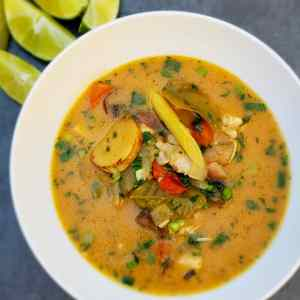 Tom Kha Gai- Thai Chicken Galangal Soup with Kefir Lime and Coconut Broth
