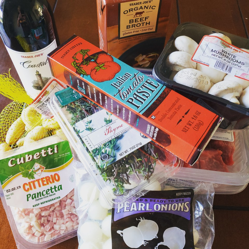 Ingredients for Beef Bourguignon from Trader Joe's