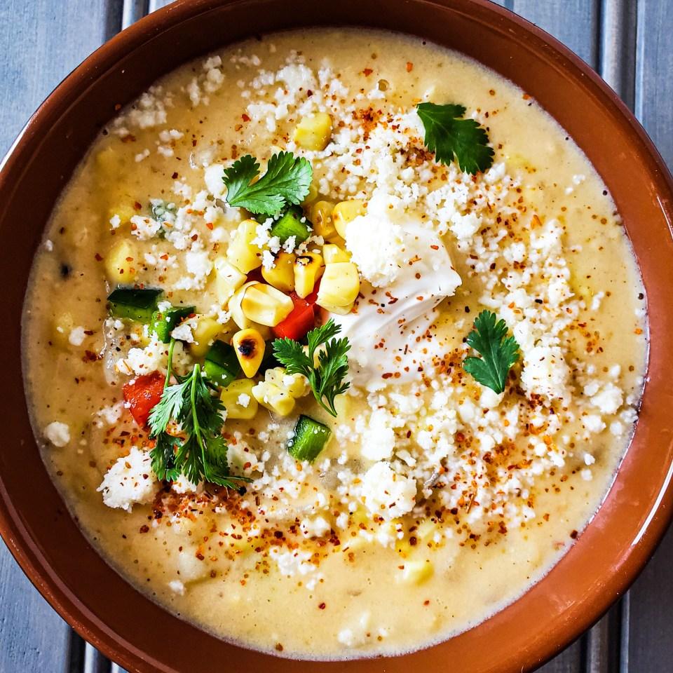 temecula private chef created Elote Corn Chowder in Bowl