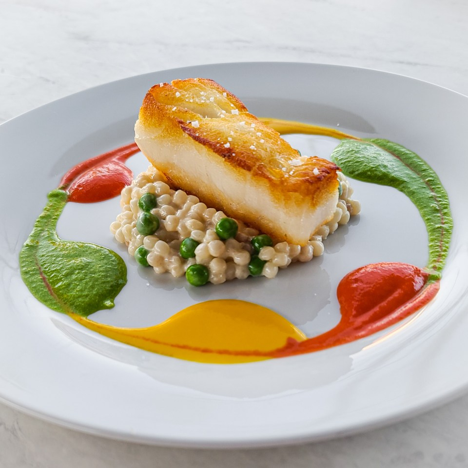temecula private chef created chilean sea bass with colored sauces on plate