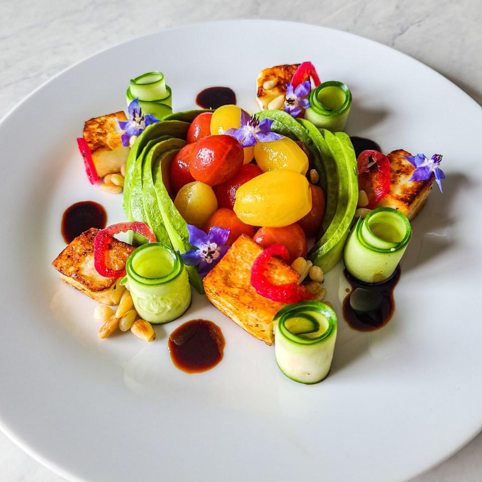 temecula private chef created avocado grape tomato greek salad on plate