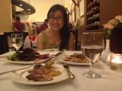Anniversary dinner at Zuni with my bellini, steak, turkey, salmon, cold cuts & caviar