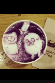 Cute purple potato latté art at Subspace