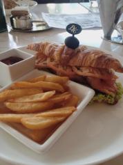 DEAR GOD, TRY DIAMOND HOTEL'S TRUFFLE FRIES! Their salmon sandwich was just alright