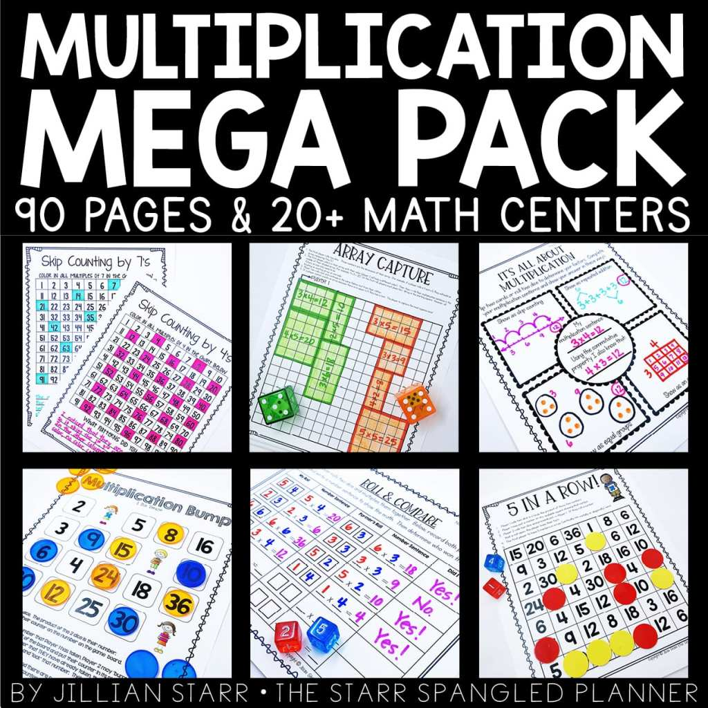 Multiplication Center Ideas to teach concepts related to multiplication and building multiplication fact fluency in a fun and engaging setting.