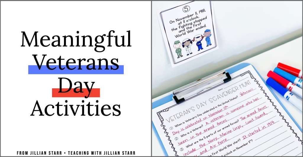 Veterans Day Activities for kids! These activities engage students in learning about Veterans Day through a fun fact scavenger hunt! After learning all about veterans and the holiday, this blog post shares tons of other fun activities and printables for your first, second and third grade students.