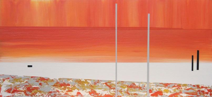 Evening stroll, Gullane. Acrylic on board, 40cm x 20cm