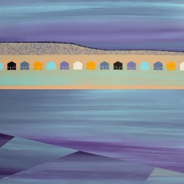 18 huts, Coldingham. Acrylic on board, 63cm x 42cm