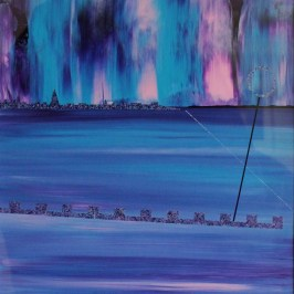 Northern Lights, Portobello. Acrylic on card. 30cm x 30cm