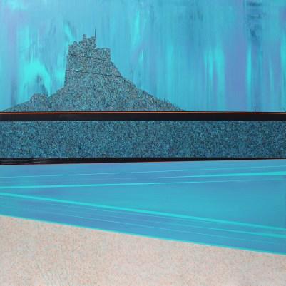 Lindisfarne Castle and beach, acrylic on board, 60cm x 60cm