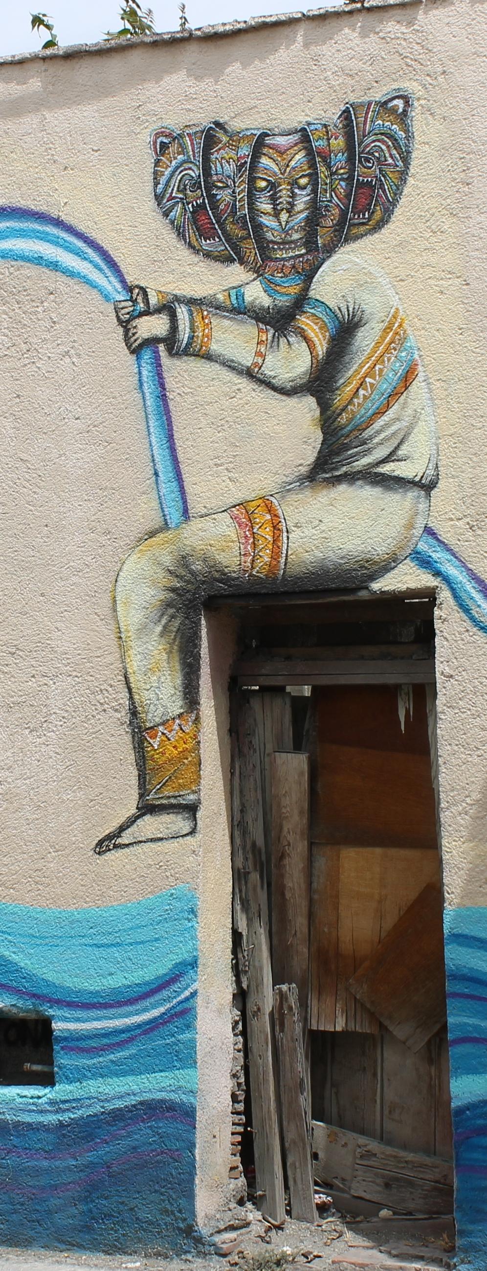 fisherman mural on Calle Bolivar in  Saltillo