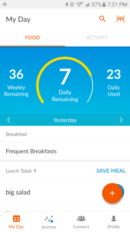 WW app daily food tracker